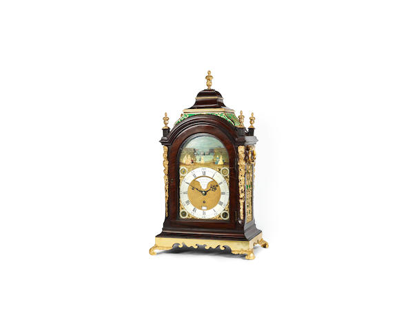 A late 18th century mahogany musical table clock with automata Robert Ward, Abchurch Lane, London
