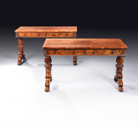 A pair of Regency rosewood library tables