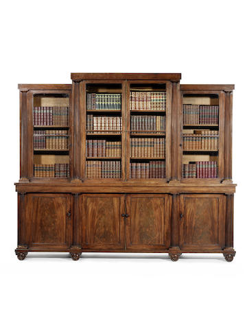A Regency mahogany breakfront library bookcase attributed to T. & G. Seddon