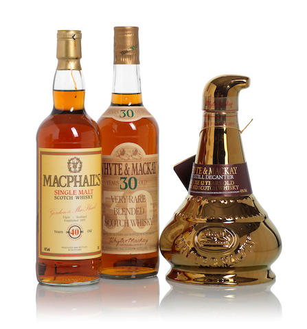 Whyte & Mackay 30 year old (1)   Macphail's-40 year old (1)   Whyte & Mackay Gold Pot Still Decanter (1)