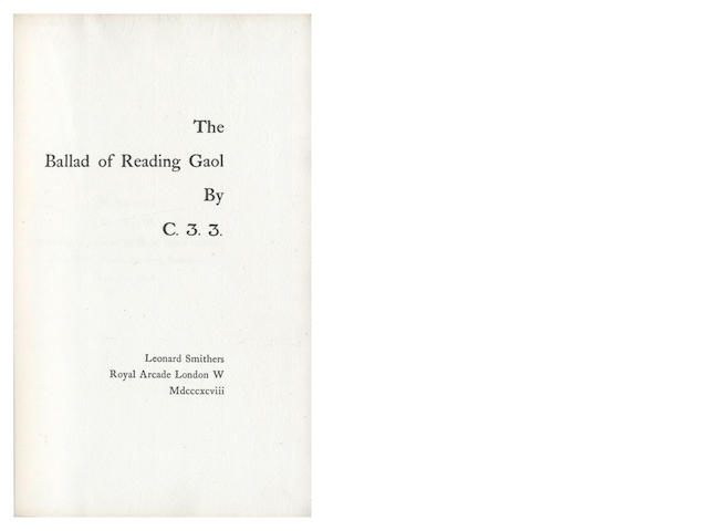 WILDE (OSCAR)] The Ballad of Reading Gaol by C.3.3., FIRST EDITION, ONE OF 800 COPIES, Leonard Smithers, 1898