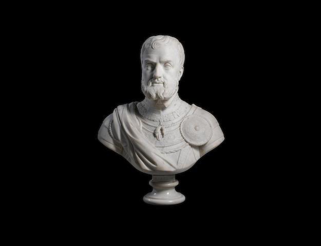 Joseph Tuerlinckx (Belgian, 1809 - 1873): A large carved marble bust of Holy Roman Emperor Charles V (1500 - 1558), Karel V