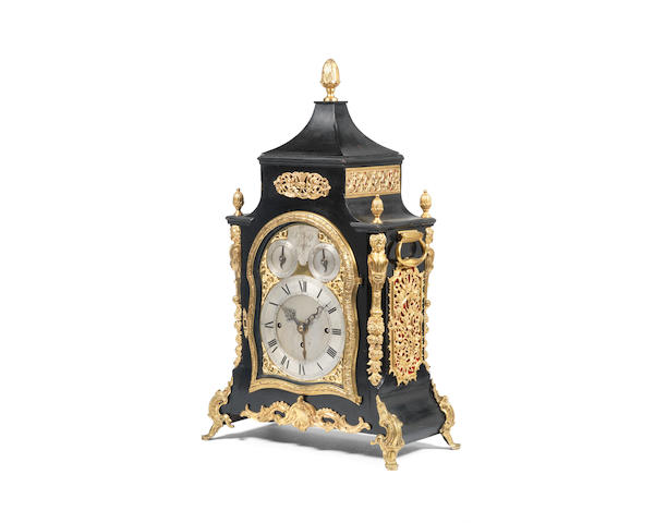 A late 18th century ebonised musical table clock Robert Philp, London