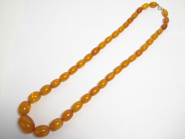 An amber bead necklace