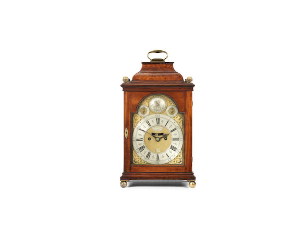 A mid-18th century mahogany bracket clock the dial signed Tho Bennet London