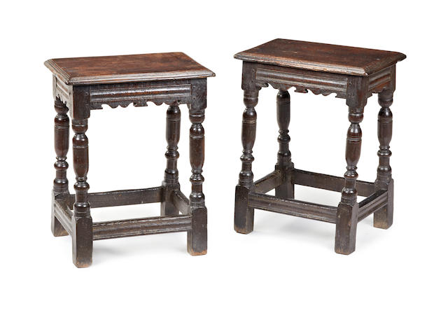 A rare pair of Charles I oak joint stools, possibly Salisbury, circa 1630