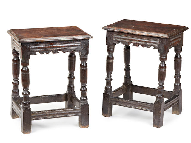 A rare pair of Charles I oak joint stools, possibly Salisbury, circa 1630