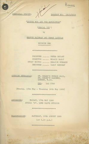 Doctor Who / Patrick Troughton: 'Doctor Who And The Dominators', three Rehearsal Scripts,  1968, 3