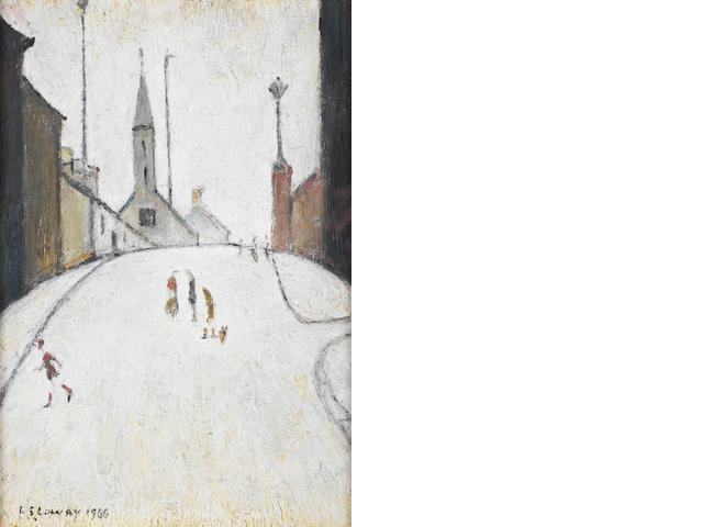 Laurence Stephen Lowry R.A. (British, 1887-1976) Church Street, Clitheroe 25.7 x 18 cm. (10 1/8 x 7 1/8 in.)