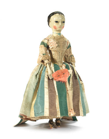 A fine George II wooden doll, English circa 1730