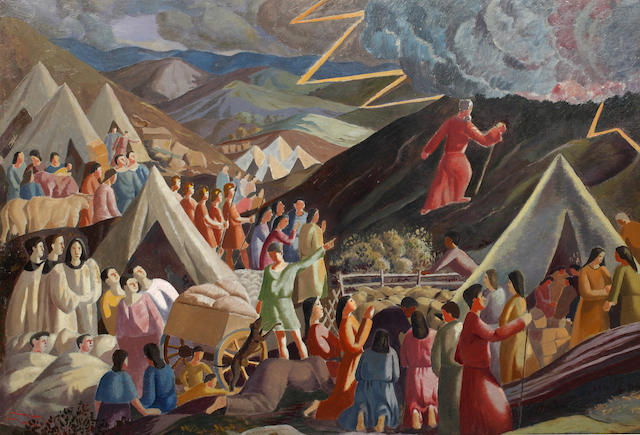 Thomas Nash (British, 1891-1968) Moses Ascending The Mountain 60 x 88cm