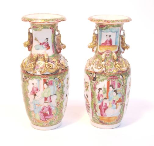 A pair of Canton export famille rose vases Late 19th century