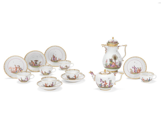 A rare Meissen part tea and coffee service, circa 1740