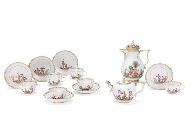 A rare Meissen part tea and coffee service, circa 1740