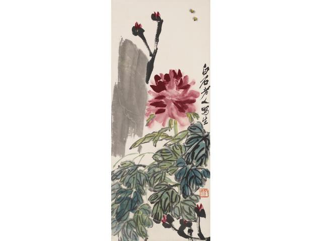Qi Baishi (1863-1957) Peony, Bees and Rocks