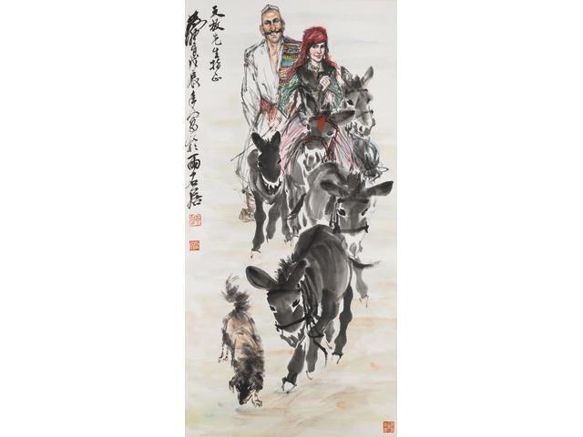 Huang Zhou (1925-1997) Herding Donkeys