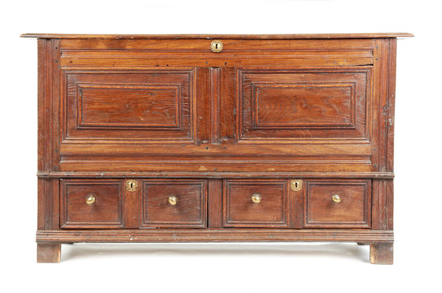 A large oak mule chest, English, circa 1700
