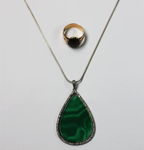 A diamond and green stained agate pendant on chain and a dress ring, (2)