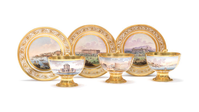 A very rare set of six Naples, Poulard Prad, gold-ground topographical cups and saucers, circa 1810-18