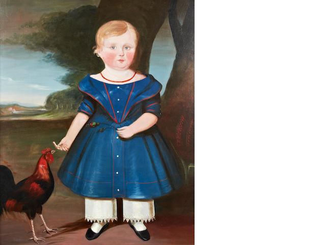 English Primitive School, (circa 1810) A naive portrait of an infant feeding a hen