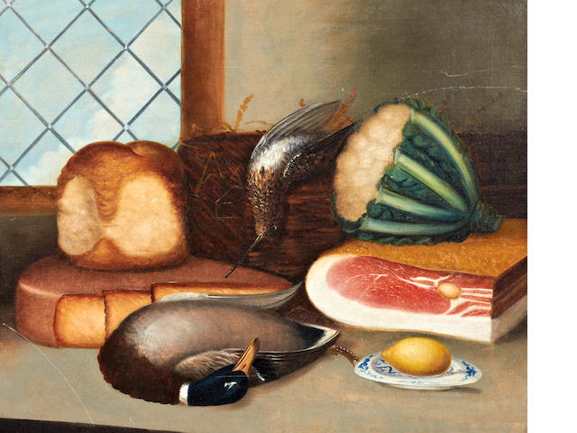 English Naive School, (early 19th century) Still life of ham, cheese, bread, snipe, mallard and cauliflower on a window ledge