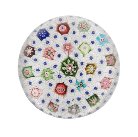 A signed Clichy carpet-ground paperweight, circa 1850