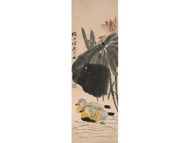 Qi Baishi (1863-1957) Mandarin Ducks in Lotus Pond