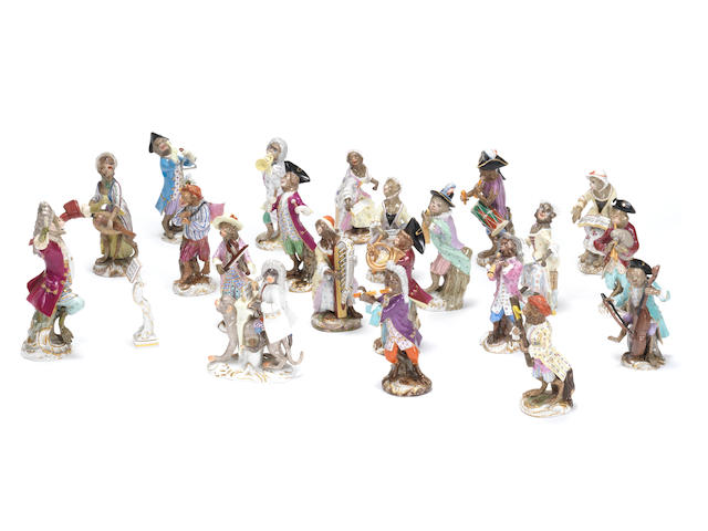 A Meissen Monkey Band, mostly second quarter 19th century