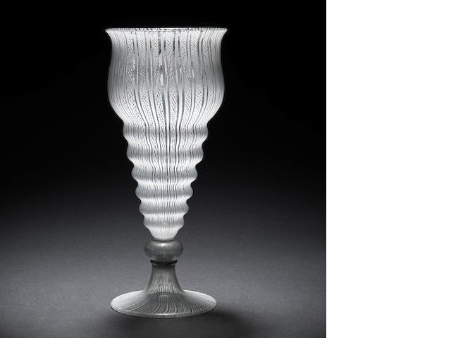 A fine façon de Venise 'Verres Coquilles' goblet, late 16th century