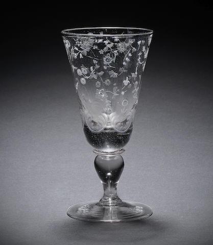 An engraved Potsdam goblet, circa 1730-50