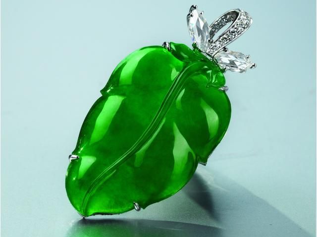 A jadeite and diamond pendant