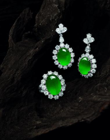 A jadeite and diamond ring and pendent earring suite (2)