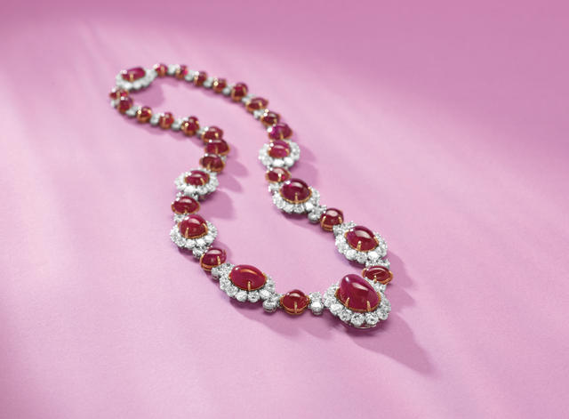 An impressive ruby and diamond necklace, by Van Cleef and Arpels,