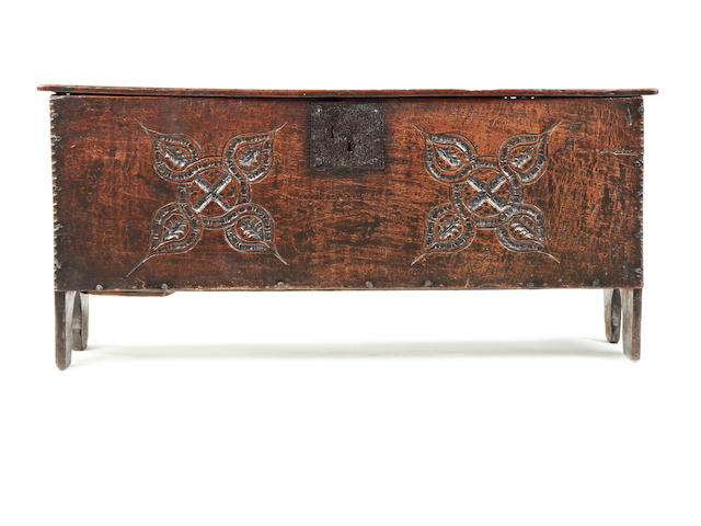A Charles II oak boarded chest, West Country, circa 1660