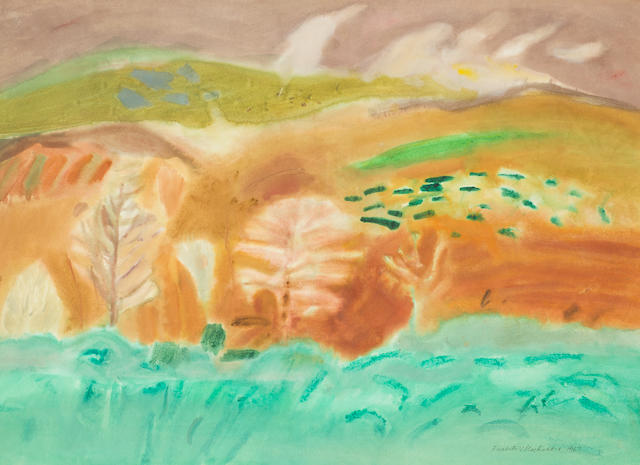 Dame Elizabeth Blackadder OBE RA RSA RSW RGI DLitt (British, born 1931) Tweed Valley, Autumn 56.5 x 76.5 cm. (22 1/4 x 30 1/8 in.)