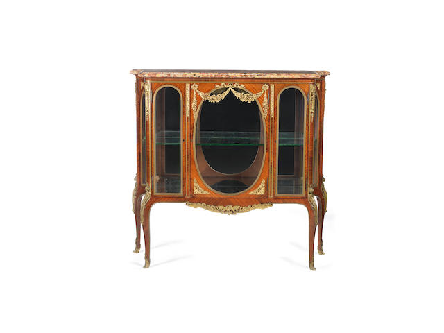 A French late 19th/ early 20th century Louis XV style ormolu-mounted kingwood vitrine attributed to François Linke, Paris