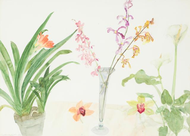 Dame Elizabeth Blackadder OBE RA RSA RSW RGI DLitt (British, born 1931) Clivia, Orchids and Arum Lily 58 x 80 cm. (22 13/16 x 31 1/2 in.)