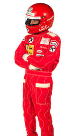 A 'Niki Lauda' helmet and race-suit costume as worn in the film 'Rush',