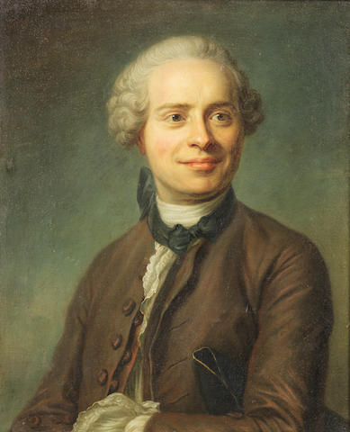 French School, 18th Century Portrait of Jean le Rond d'Alembert (1717-1783), in a mauve coat and waistcoat and a black cravat