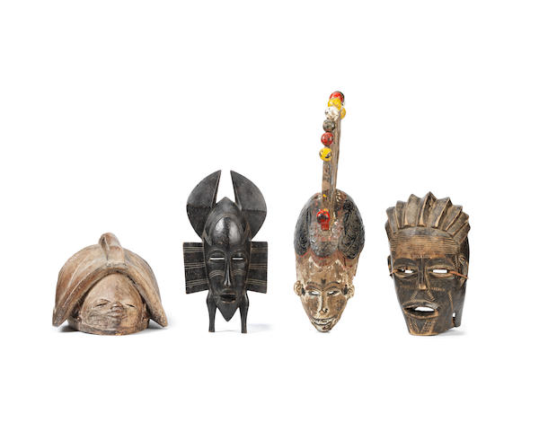 Four African masks, West Africa and Angola (4)