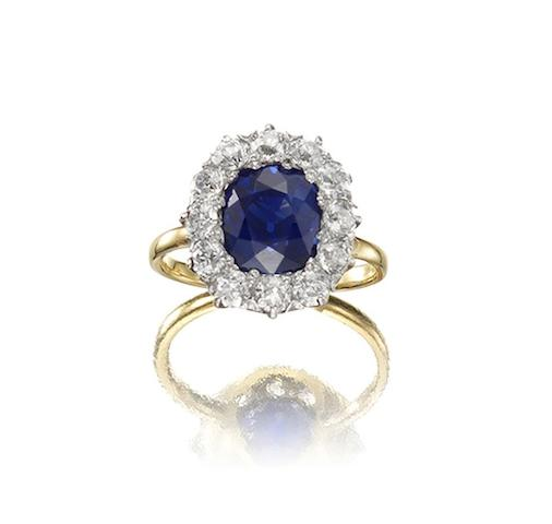 A sapphire and diamond cluster ring, by Tiffany & Co.