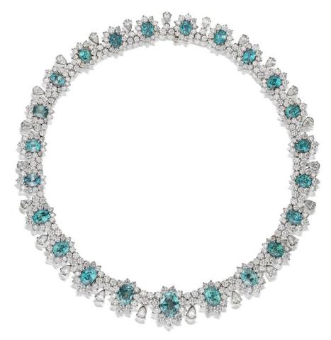 A blue zircon and diamond necklace