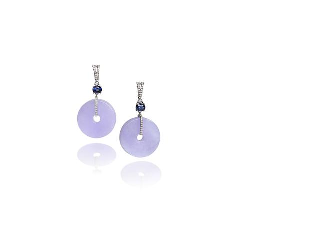 A pair of lavender jadeite, sapphire and diamond pendent earrings