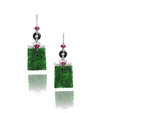 A pair of jadeite, ruby and diamond pendent earrings