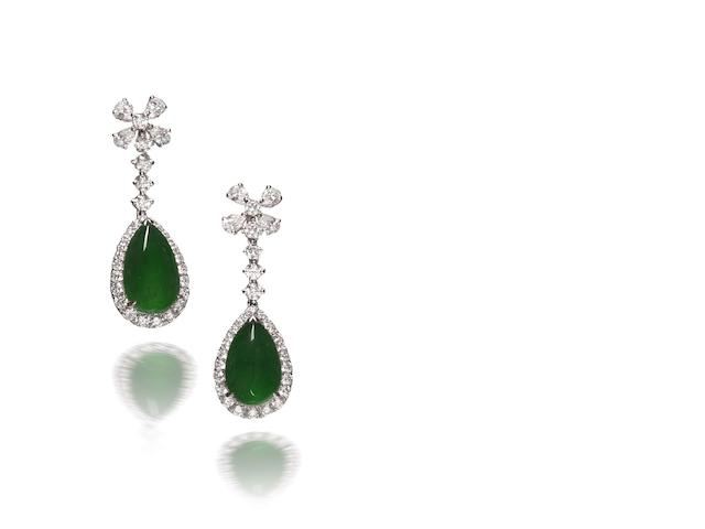 A pair of jadeite and diamond earrings