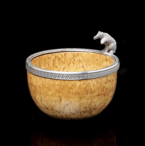 Birch bowl with silver bear mountFabergé, workmaster Andrei Gorianov, St. Petersburg, 1908-1917