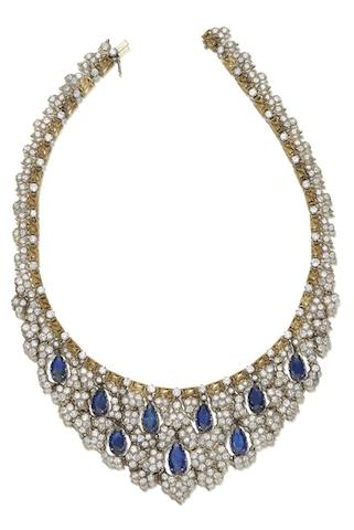 A sapphire and diamond necklace, by Buccellati,
