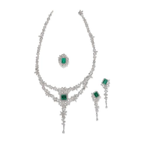 An emerald and diamond necklace, earring and ring suite (3)