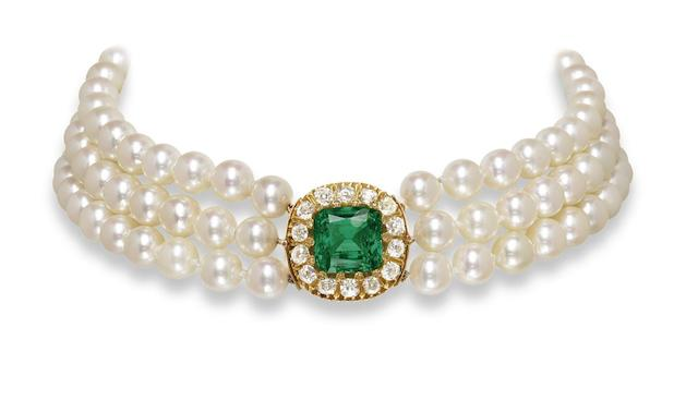 An emerald, diamond and cultured pearl choker