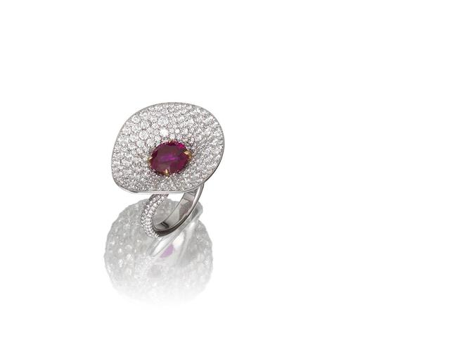 A ruby and diamond dress ring, by Hatik